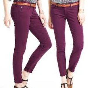 Ag Stevie Ankle Slim Straight Burgandy Jeans 26R